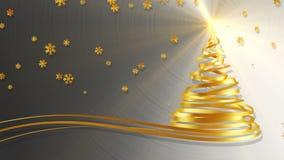 Árbol de navidad de las cintas y de los copos de nieve del oro sobre fondo del metal ilustración del vector