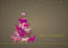 Árbol de navidad de los ciervos Fotografía de archivo