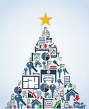 Árbol de navidad de los iconos de la industria de propiedades inmobiliarias libre illustration