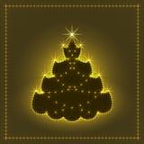 Árbol de navidad de neón brillante, tarjeta de Navidad, ejemplo del Año Nuevo Foto de archivo libre de regalías
