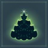 Árbol de navidad de neón brillante, tarjeta de Navidad, ejemplo del Año Nuevo Fotografía de archivo