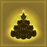 Árbol de navidad de neón brillante, tarjeta de Navidad, ejemplo del Año Nuevo Fotos de archivo libres de regalías