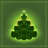 Árbol de navidad de neón brillante, tarjeta de Navidad, ejemplo del Año Nuevo Imagen de archivo