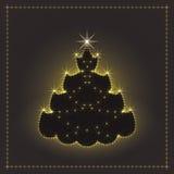 Árbol de navidad de neón brillante, tarjeta de Navidad, ejemplo del Año Nuevo Imagen de archivo libre de regalías