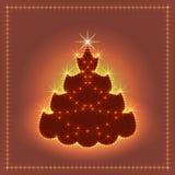 Árbol de navidad de neón brillante, tarjeta de Navidad, ejemplo del Año Nuevo Fotografía de archivo libre de regalías