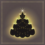 Árbol de navidad de neón brillante, tarjeta de Navidad, ejemplo del Año Nuevo Foto de archivo