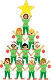 Árbol de navidad de niños stock de ilustración