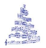 Árbol de navidad de notas de la música ilustración del vector
