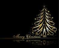 Árbol de navidad de oro Foto de archivo