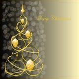 Árbol de navidad de oro abstracto Imagen de archivo