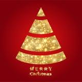 Árbol de navidad de oro abstracto stock de ilustración