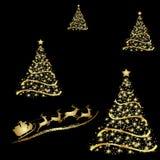 Árbol de navidad de oro abstracto en fondo negro ilustración del vector