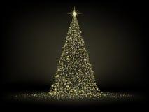 Árbol de navidad de oro abstracto. EPS 8 Imágenes de archivo libres de regalías