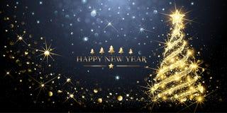 Árbol de navidad de oro de la tarjeta de felicitación Vector ilustración del vector