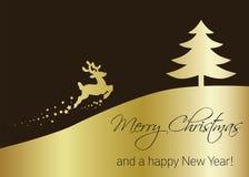 Árbol de navidad de oro del vector con el reno Imagen de archivo