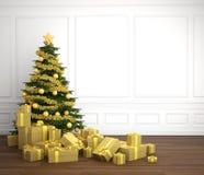 Árbol de navidad de oro en el rrom blanco stock de ilustración