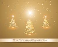 Árbol de navidad de oro tres Imágenes de archivo libres de regalías