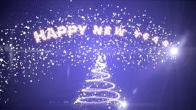 Árbol de navidad de partículas que brillan intensamente Feliz Año Nuevo de la inscripción superior libre illustration