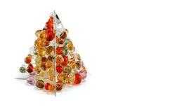 Árbol de navidad de plata con los ornamentos Imagenes de archivo