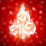 Árbol de navidad de Swirly en fondo del bokeh. stock de ilustración