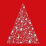 Árbol de navidad decorativo de un sistema de iconos en un fondo rojo Foto de archivo libre de regalías