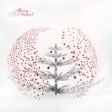 Árbol de navidad del arte bajo el confeti y nevadas stock de ilustración