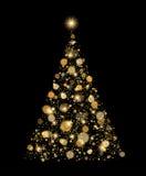 Árbol de navidad del brillo del oro Foto de archivo