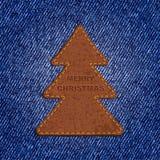 Árbol de navidad del cuero del fondo de los vaqueros Vector Imagen de archivo