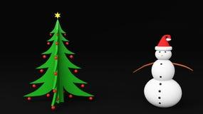 Árbol de navidad del muñeco de nieve Imagen de archivo