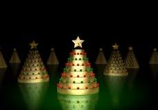 Árbol de navidad del oro Fotos de archivo