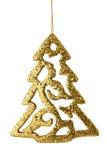 Árbol de navidad del oro aislado Imágenes de archivo libres de regalías