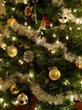 Árbol de navidad del oro y de la plata Fotografía de archivo