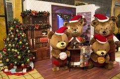Árbol de navidad del oso Fotos de archivo