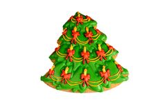 Árbol de navidad del pan de jengibre aislado en fondo del blanco de еру Imagen de archivo