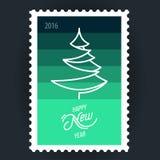 Árbol de navidad del sello ilustración del vector