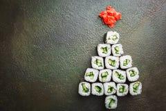Árbol de navidad del sushi foto de archivo libre de regalías