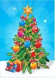 Árbol de navidad del vector Protagonice, las bolas de la decoración y árbol de navidad adornado cadena de la bombilla con las por Fotos de archivo