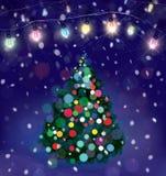 Árbol de navidad del vector y decoraciones de las luces ilustración del vector