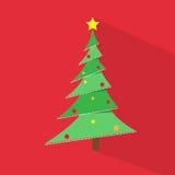 Árbol de navidad del verde del Año Nuevo sobre icono plano rojo Imágenes de archivo libres de regalías