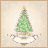 Árbol de navidad del vintage. Ejemplo del vector con el ol Fotos de archivo