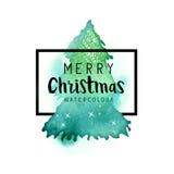 Árbol de navidad del Watercolour Imágenes de archivo libres de regalías