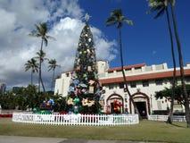 Árbol de navidad delante de Honolulu sana Fotografía de archivo