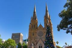 Árbol de navidad delante de la catedral de St Mary s Foto de archivo