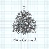 Árbol de navidad dibujado en cuaderno de la pluma stock de ilustración