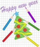 Árbol de navidad drenado con los lápices coloreados stock de ilustración