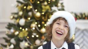 Árbol de navidad elegante adornado con las bolas de cristal que relucir y las luces de hadas metrajes