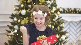 Árbol de navidad elegante adornado con las bolas de cristal que relucir y las luces de hadas almacen de video