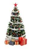 Árbol de navidad en blanco con los presentes Fotografía de archivo libre de regalías