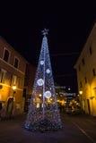 Árbol de navidad en Cascia en Umbría, Italia Fotos de archivo libres de regalías