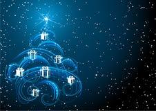 Árbol de navidad en cielo estrellado Imagen de archivo